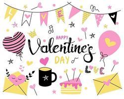 impostato con il giorno di San Valentino su uno sfondo bianco. rosa brillante, colori gialli. bandiere, San Valentino, caramelle, torte, muffin, palloncini e tazza. immagine piatta vettoriale