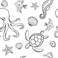 seamless con diversi animali e oggetti marini. sfondo di vita sottomarina di mare o oceano. elementi concettuali. illustrazione vettoriale in stile disegnato a mano.