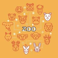icone di contorno minimo zoo vettore