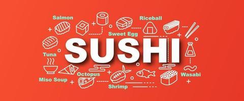 banner alla moda di vettore di sushi