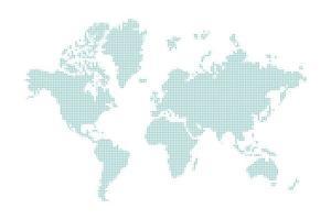 mappa del mondo tratteggiata blu vettore