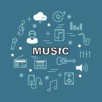 icone di contorno minimale di musica vettore
