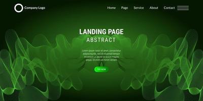 pagina di destinazione del sito Web sfondo astratto con linee ondulate verdi vettore