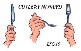 posate. forchetta, cucchiaio e coltello in mano. stile cartone animato. un ristorante. vettore