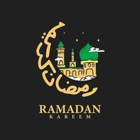 calligrafia di ramadan kareem design piatto con moschea su sfondo nero vettore