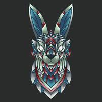 ornamento colorato astratto doodle arte coniglio illustrazione fumetto concetto di vettore. adatto per logo, carta da parati, banner, sfondo, carta, illustrazione di libri, design di t-shirt, adesivo, copertina, ecc vettore
