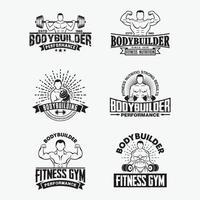 distintivi e loghi palestra fitness, modelli di disegno vettoriale
