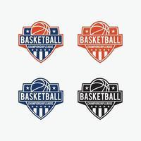 distintivi di basket loghi modelli di disegno vettoriale impostati