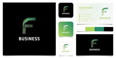 colorato verde gradiente linee circolari lettera f logo con modello di biglietto da visita vettore