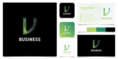 colorato verde gradiente linee circolari lettera v logo con modello di biglietto da visita vettore