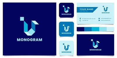 logo isometrico blu lettera v semplice e minimalista con modello di biglietto da visita vettore