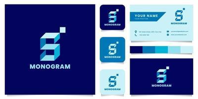 logo isometrico blu lettera s semplice e minimalista con modello di biglietto da visita vettore