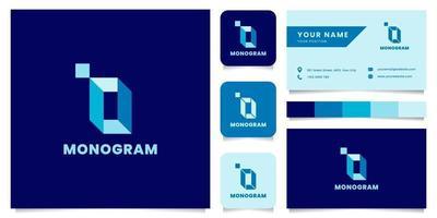 semplice e minimalista blu isometrica lettera o logo con modello di biglietto da visita vettore