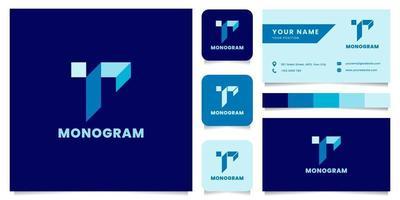 logo isometrico blu lettera r semplice e minimalista con modello di biglietto da visita vettore