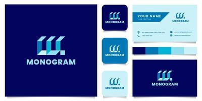 logo isometrico blu lettera w semplice e minimalista con modello di biglietto da visita vettore
