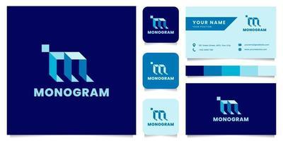 logo isometrico blu lettera m semplice e minimalista con modello di biglietto da visita vettore