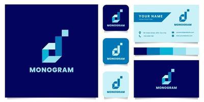 logo isometrico blu lettera d semplice e minimalista con modello di biglietto da visita vettore