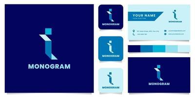 logo isometrico blu lettera i semplice e minimalista con modello di biglietto da visita vettore