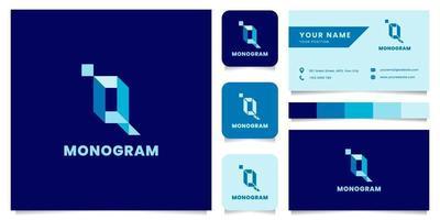 logo isometrico blu lettera q semplice e minimalista con modello di biglietto da visita vettore