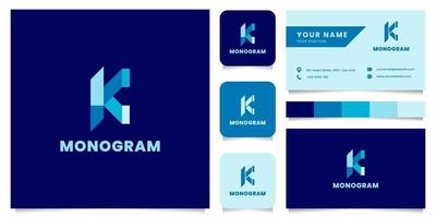 logo blu lettera k semplice e minimalista con modello di biglietto da visita vettore