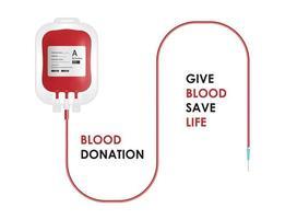 concetto di donazione di sangue. sacca di sangue isolato su sfondo bianco, illustrazione vettoriale