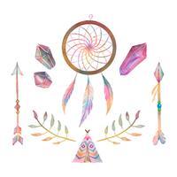 Carino acquerello Boho Elements Collection vettore