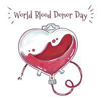 Sacchetto di sangue acquerello per la giornata mondiale del sangue vettore