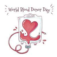 Sacchetto di sangue carino con forma di cuore vettore