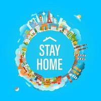 stare a casa concetto. logo della campagna di protezione dal coronavirus con case vettore
