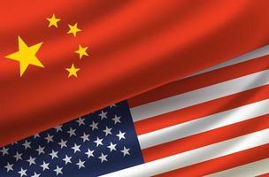 Cina e Stati Uniti. sfondo vettoriale con bandiere