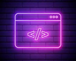 codifica icona neon vettore