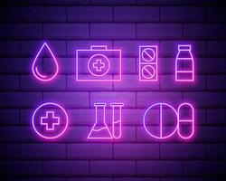 argomento medico icone colorate al neon impostato su uno sfondo di muro di mattoni vettore
