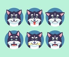 Insieme di vettore di emozioni del cane