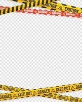 nastri di avvertenza su sfondo trasparente. modello di disegno vettoriale