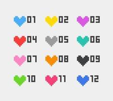cuori in stile pixel di colore con cifre. set di proiettili inforgaphic vettoriale