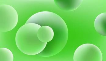 astratto sfondo verde vettoriale con palline 3d