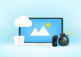 laptop moderno con fotocamera e tazza. concetto di posto di lavoro vettore
