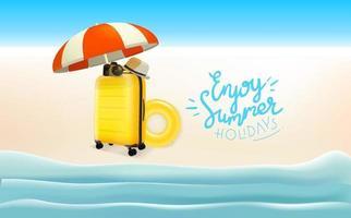 concetto di viaggio con diverse cose da viaggio. goditi le vacanze estive vettore