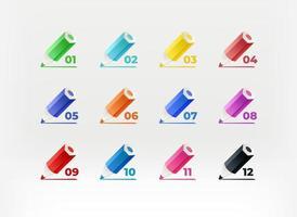 pastelli colorati con cifre. proiettili di vettore di infografica. modello per la progettazione