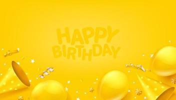 banner di vettore di buon compleanno con palloncini, coriandoli e cappelli