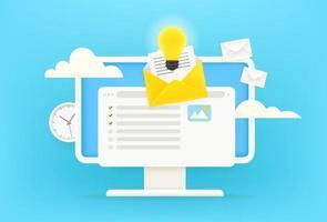 concetto di risposta. ricezione di posta elettronica tramite il concetto di internet. Illustrazione vettoriale carino stile 3D