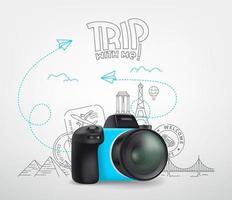 concetto di viaggio per il mondo con fotocamera digitale e logo. viaggio con me vettore