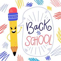 Carattere sveglio della matita che sorride con il fumetto e mano che segna circa la scuola vettore