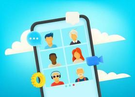 conversazione video tramite smartphone moderno. dialogo con il team aziendale. lavoro a distanza vettore