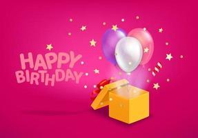 banner di vettore di buon compleanno. scatola aperta con mongolfiere e coriandoli