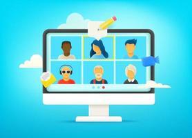 conversazione video tramite rete di computer. dialogo con il team aziendale. lavoro a distanza vettore