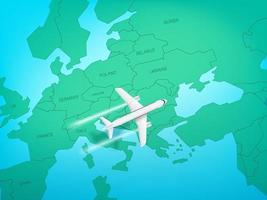 aerei moderni che volano sopra l'Europa. illustrazione vettoriale vista dall'alto