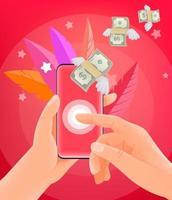 inviare denaro tramite smartphone. uomo che tiene smartphone moderno. illustrazione di stile alla moda vettore