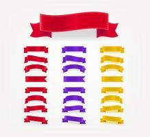 set di fiocchi orizzontali decorativi di colore. modello per il testo vettore