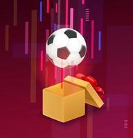 scatola aperta con pallone da calcio che vola fuori dalla scatola vettore